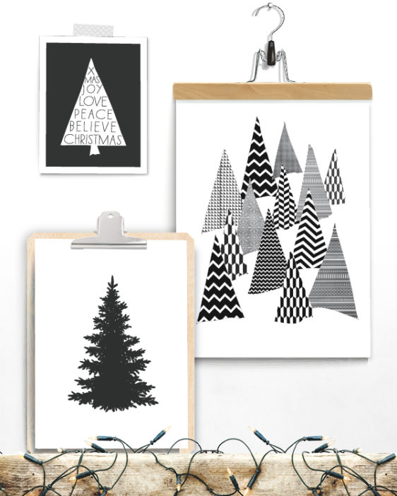 Posterset Weihnachtsbaum - Deko-Prints Schwarz-Weiss
