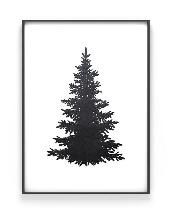 weihnachtsposter tannenbaum silhouette printcandy. Black Bedroom Furniture Sets. Home Design Ideas