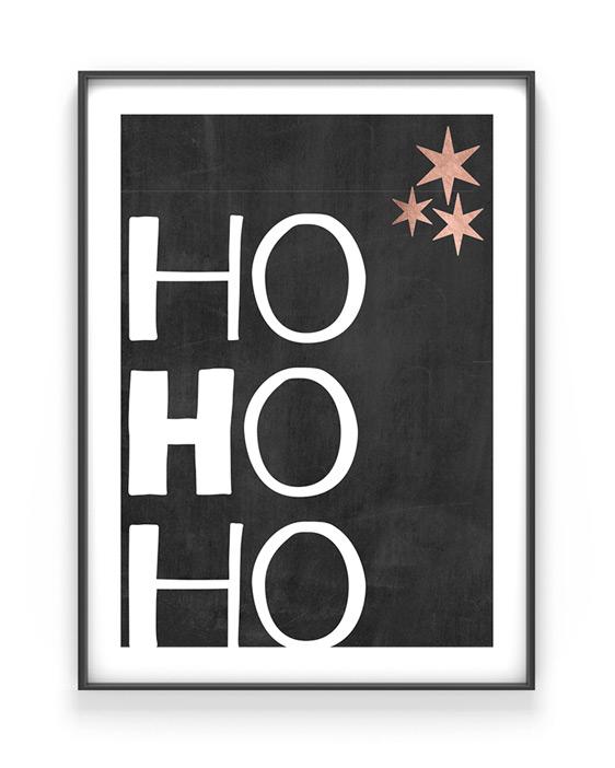 Weihnachtsposter mit eigenem Text z.B Ho ho ho selbst gestalten mit Printcandy - Schwarz weiß-