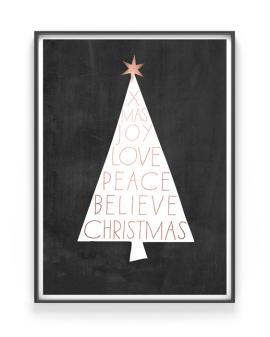 Weihnachts Poster- Christbaum - schwarz-weiss- kupfer- Poster Weihnachten selber gestalten mit Printcandy