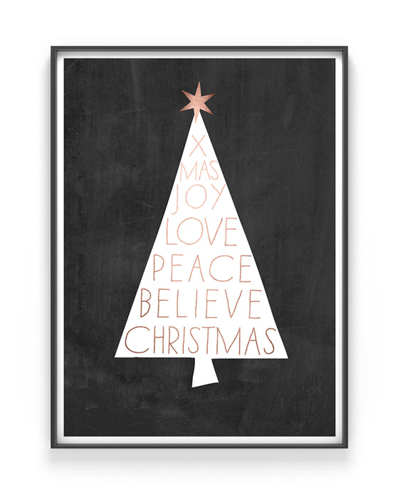 Weihnachtsposter X-mas tree | Christbaum - schwarz-weiss- kupfer- Poster Weihnachten | Printcandy