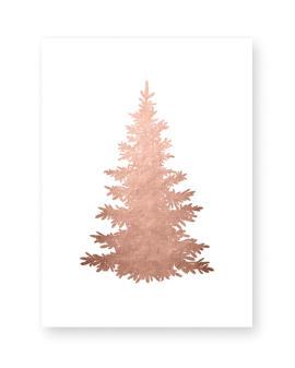 Weihnachts Poster Tannenbaum Silhouette -kupfer optik - Poster Weihnachten selber gestalten mit Printcandy
