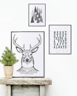 Poster zu Weihnachten - easy Weihnachtsdeko - Schwarz-Weiß Dekoration