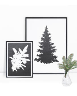 coole Xmas Dekorationsidee - Weihnachtsposter Tannenbaum Silhouette - Poster Weihnachten selber gestalten mit Printcandy