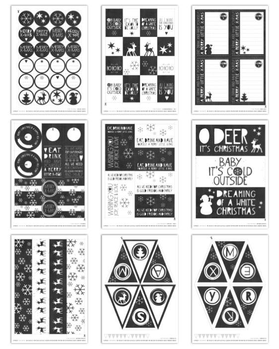 Kostenlose Druckvorlagen Weihnachten - Schwarz Weiss Weihnachts Printables