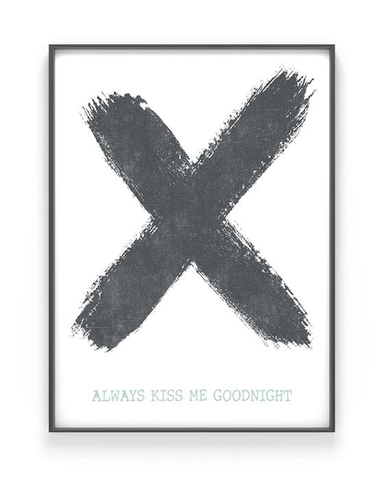 X-Design Poster | Personalisiert |Schwarz Weiss mit Minz | Printcandy