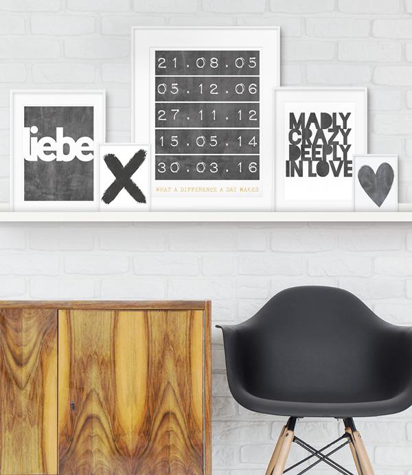 Schwarz Weiss Poster personalisiert Liebe