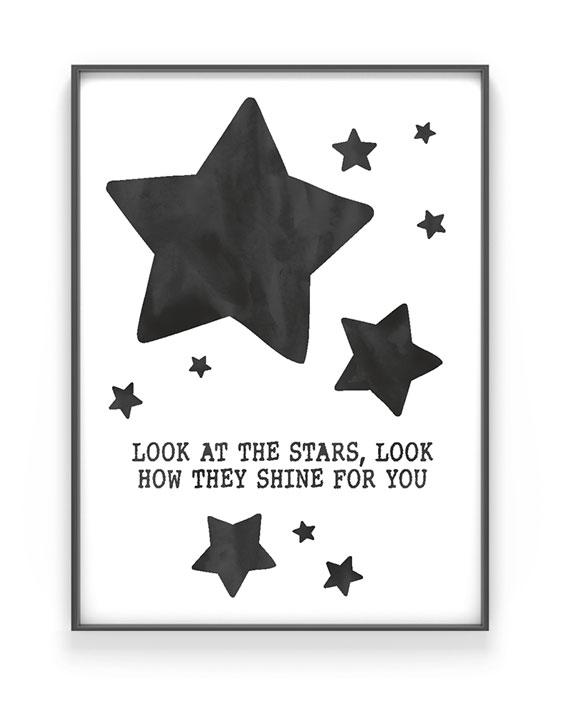Baby Poster Sterne | Personalisiert | Schwarz Weiss | Printcandy