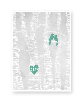 Lovebirds Poster zur Hochzeit mit verliebten Vögeln und Initialen des Brautpaares in einem Baumrindenherz | Printcandy