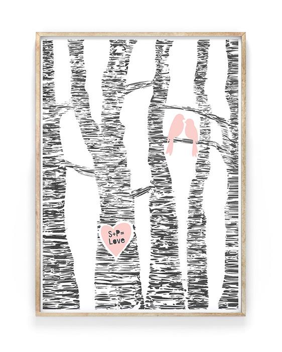 Lovebirds Poster | Liebes Poster personalisierbar mit Initialen des Liebes paares in Baumrinde | Printcandy