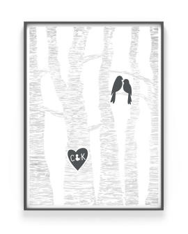 Lovebirds Poster | Personalisierbares Poster mit Bäumen, einem Vogelpaar und die personalisierte Traumpaar Initialien | Printcandy