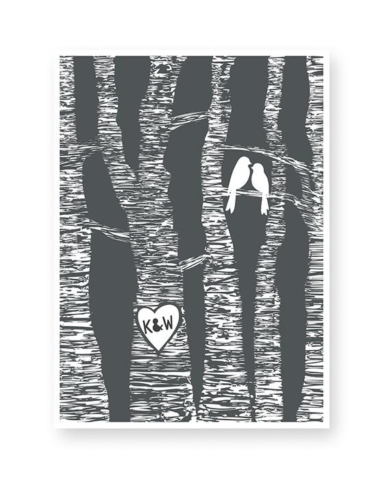 Personalisiertes Lovebirds Poster mit Initialen in eine Baumrinde Herz | Printcandy