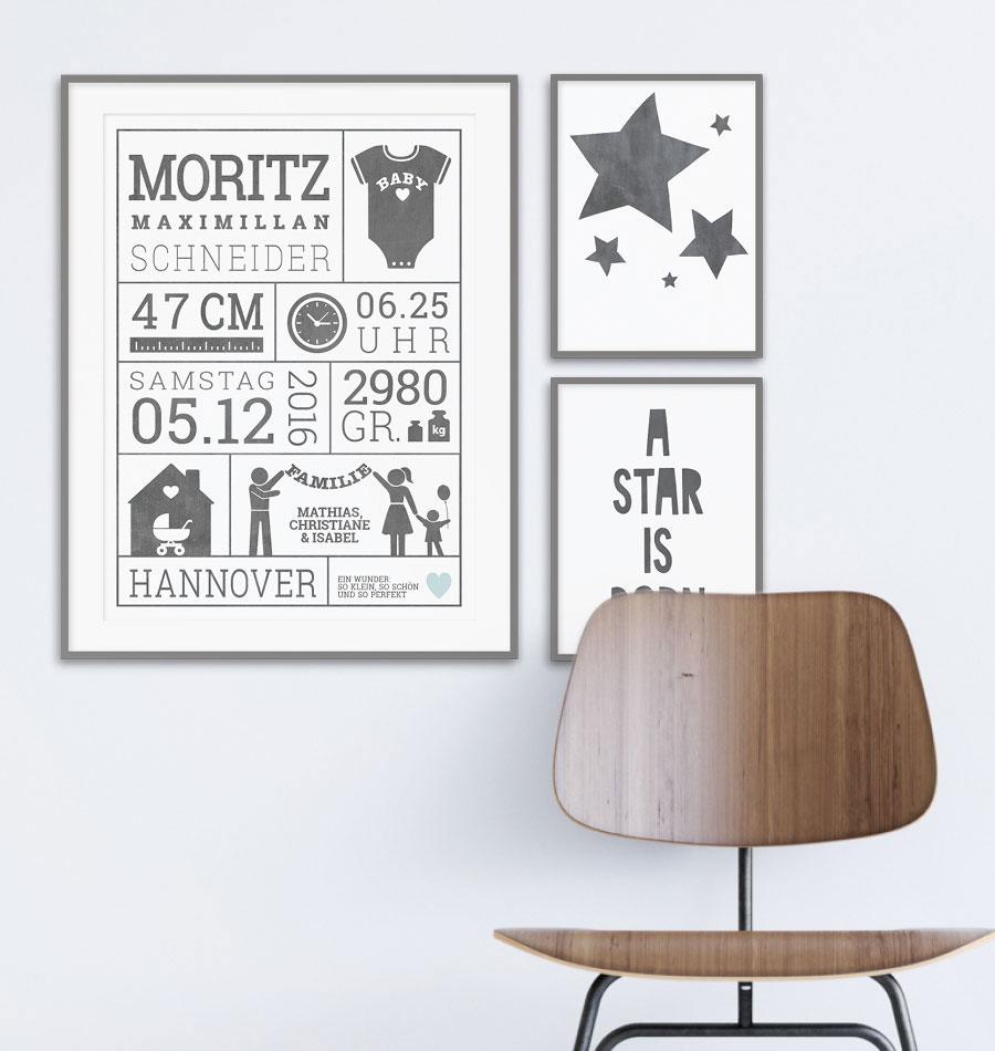 Gebutsposter Bilder Baby monochrome | printcandy