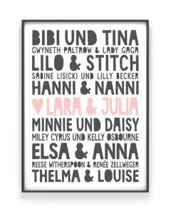Famous Best Friends Poster | Personalisiert | Schwarz Weiss mit Rosa | Printcandy