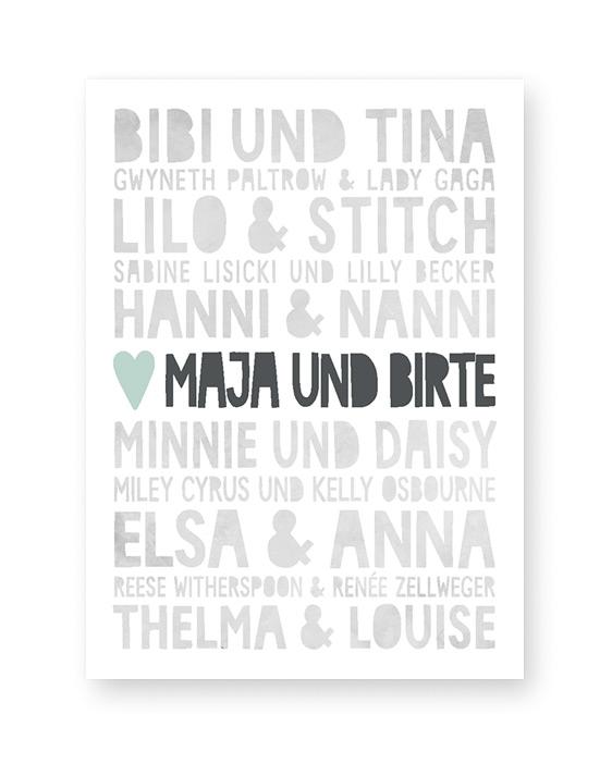 Famous Best Friends Poster - Personalisiert mit eigenen Namen