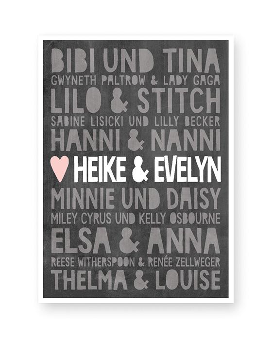 Plakat mit Namen von berühmten Freunden und eigenem Namen