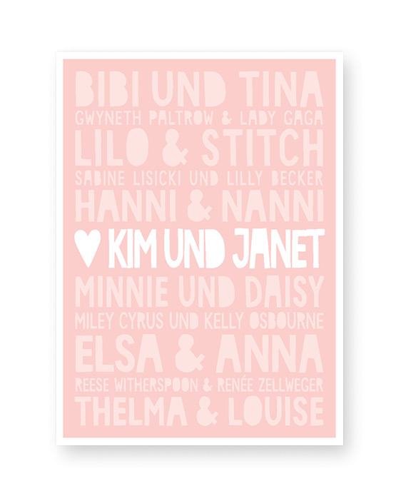 Best Friends Poster mit Namen - Rosa - Printcandy