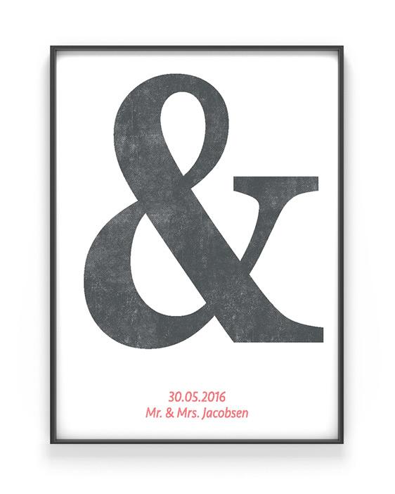 Typografie Print | Personalisiertes Buchstaben Poster | Love | Schwarz Weiss mit Rot | Printcandy