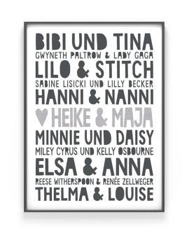 Famous Best Friends Poster | Personalisiert | Schwarz Weiss | Printcandy