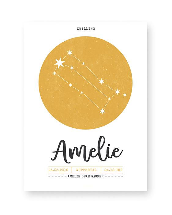 Sternzeichen Poster- Geburtsposter mit Sternbild selbst online mit eigenen Texten und Farben anpassen.