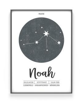 Sternzeichen Poster mit dem Sternbild des jeweiligen Sternzeichens, und dem Namen des Kindes