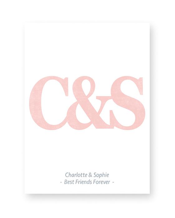 Typografie Print mit Buchstaben   Personalisierte Poster beste Freundin   Printcandy