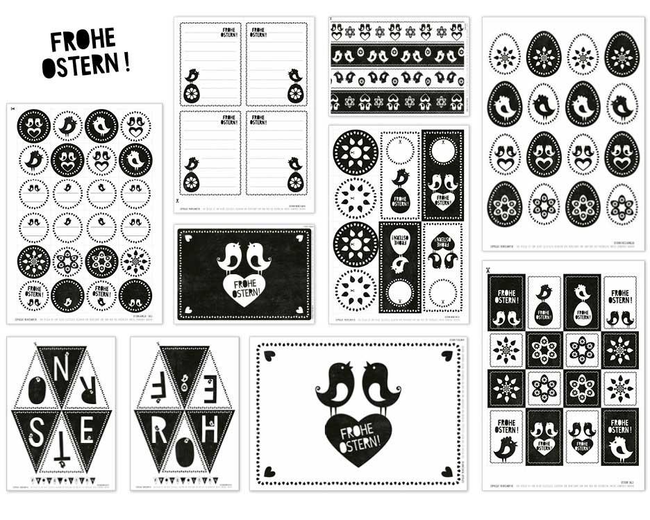 Oster Druckvorlagen in schwarz-weiss von Printcandy