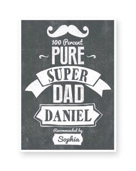 monochrom Poster für den Papa Schriftzug SUPER DAD mit eigenem Text