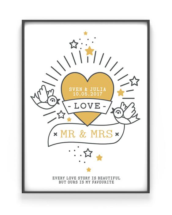 Love Tattoo Poster | Personalisiert | Schwarz Weiss mit Gelb | Printcandy