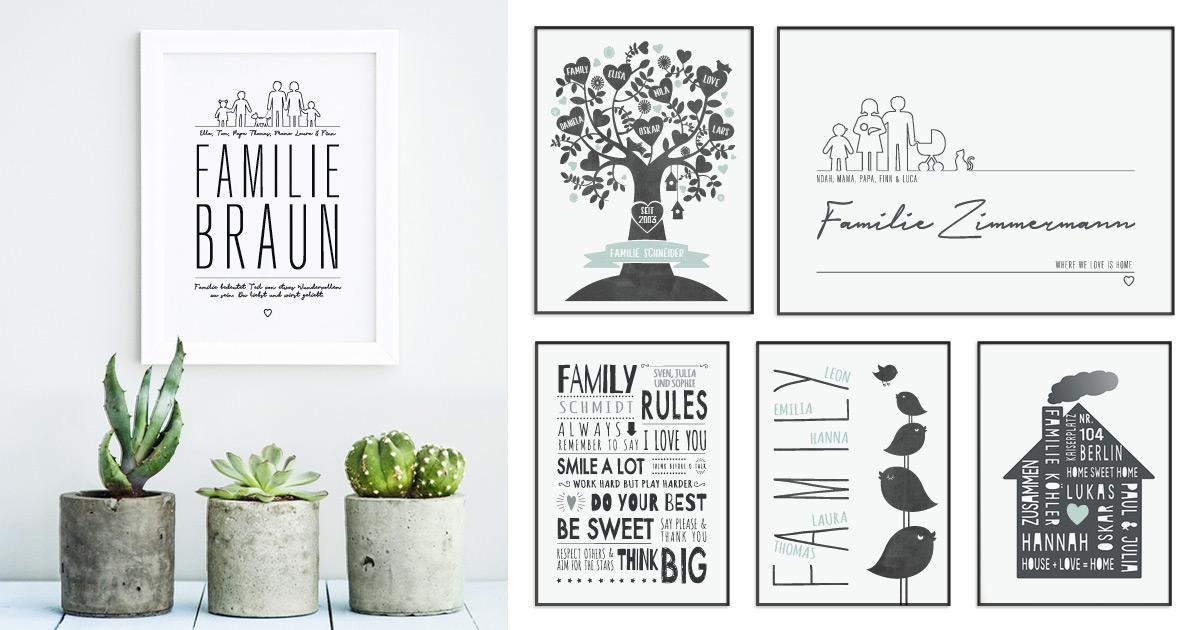 Beispiele für verschiedene Design Poster die sich toll als Geschenk für Eltern eigenen.