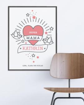Love Tattoo Poster | Personalisiert | Schwarz Weiss mit Rot | Muttertag | Printcandy