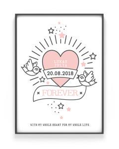 Love Tattoo Poster | Personalisiert | Schwarz Weiss mit Rosa
