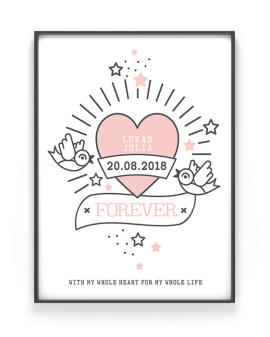 Love Tattoo Poster | Personalisiert | Schwarz Weiss mit Rot | Printcandy