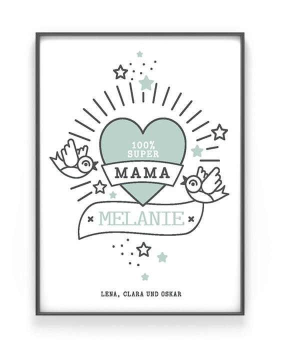 Love Tattoo Poster | Muttertag Poster Personalisiert | Schwarz Weiss mit Minz | Printcandy