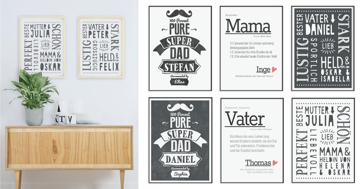 Poster für Papa und Mama mit Sprüchen -Geschenk Vater und Mutter selbst machen- Printcandy