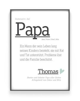 Poster Wort Definition | Personalisiert | Wortbuch Poster Papa | Printcandy