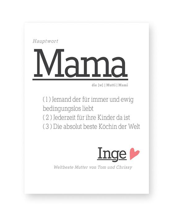 Personalisierter Poster Wort-Definition Mama - Printcandy