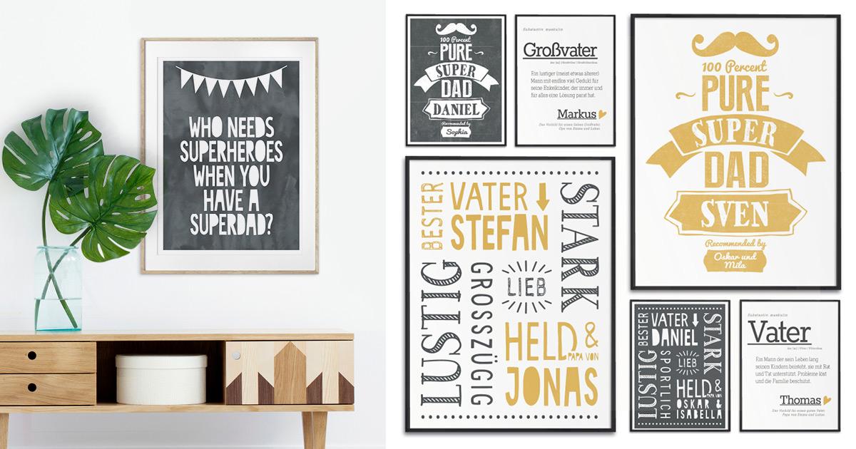 Verschiedene Poster Beispiele die sich als originelles Geschenk für Väter eignen- schwarz-weiss