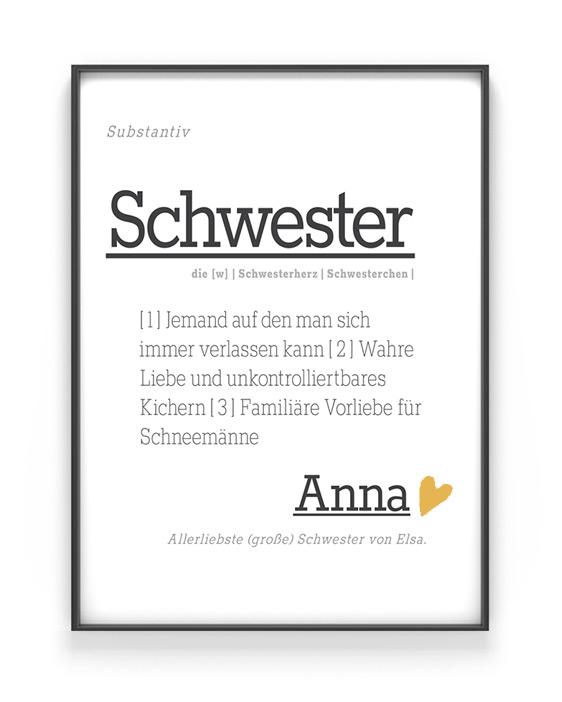 Schwester Poster Wort Definition | Personalisiert | Printcandy