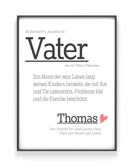 Poster Wort Definition für Papa oder Vatertag in weiss personalisierbar mit eigenem Text