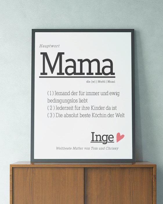 Poster Wort Definition | Personalisiert | Wortbuch Poster Mama| Printcandy