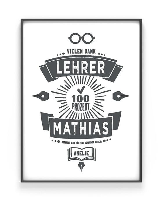 Poster für Lehrer-Erzieher mit eigenem Namen und persönlichem Text zur Danksagung