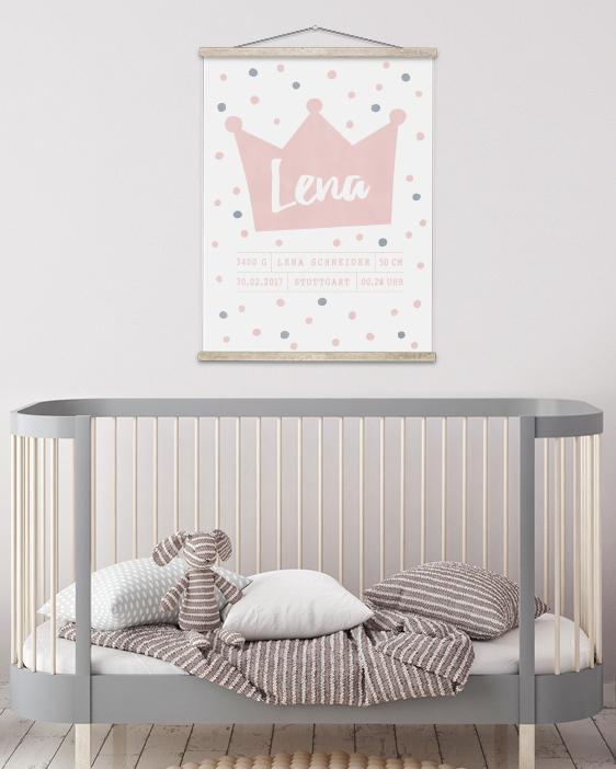 Birth Poster Prinzessin - Poster zur Geburt - rosa