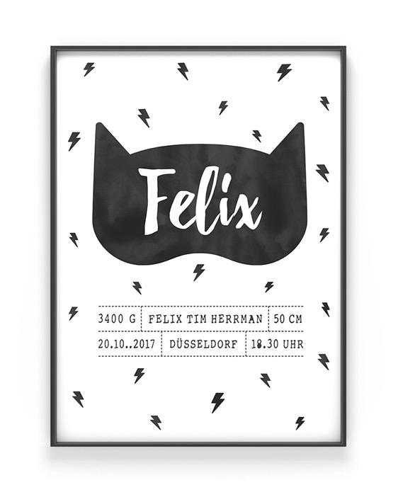 Birth Poster | Personalisiert | Schwarz Weiss