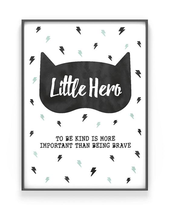 Kinderzimmer Poster | Little Hero | Personalisiert | Schwarz Weiss mit Minz | Printcandy