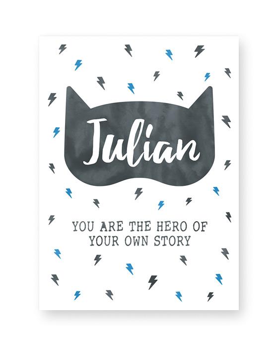 Kinderzimmer Poster für Jungen - Jungs Poster mit Superheldenmaske
