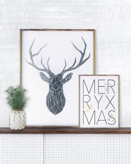 Weihnachts Dekoration selber online gestalten - Poster von einem Hirsch und Text Poster als Collage angeordet- monochrom- Printcandy