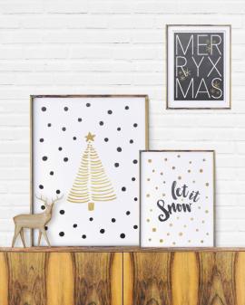 Plakate zu Weihnachten sind eine coole und einfache Art der Weihnachtsdekoration-schwarz- gold- selber Poster gestalten bei Printcandy