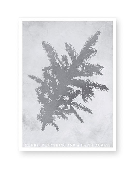 Poster mit Tannenzweig Winter Dekoration von Printcandy - silber