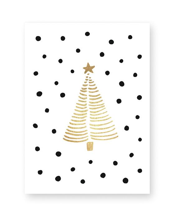 Weihnachtsbaum Poster - gold mit Punkten- Weihnachts Dekoration - Printcandy